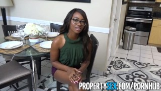 PropertySex - Smoking hot black real estate agent surprises client Teen teens
