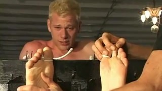 A blonde twink dude tied up and tickled all over his body Hammerboys.tv hand