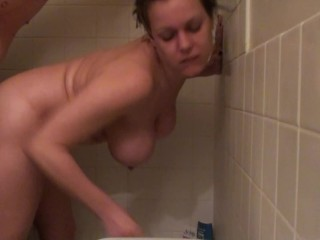 Shower Fuck! More Wet Sex, Standing Under The Water Taking Huge Cock Doggy!