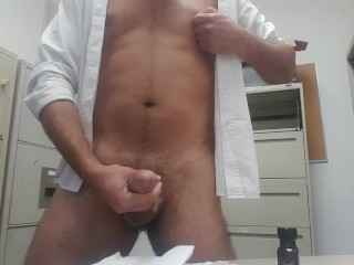 Jerking off in the supply room at work