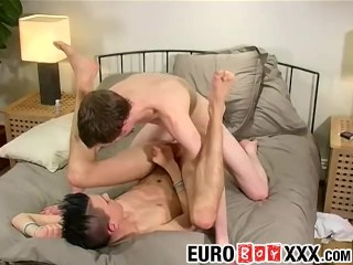 Skinny Jamie takes Robs huge dong up his tight ass