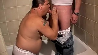 In shadows fat dude piss loves to lycan the bathtub drink chubby bathroom