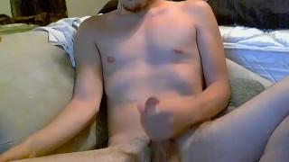 Hairy dude Wyatt Blaze has a cock jerking show on the sofa Dildo knee