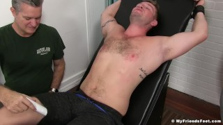 Hot muscle guy Jake Karhoff immobilized and tickled hard Nurse high