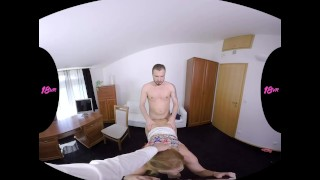 18VR Chrissy Fox Gets Job Via Threesome Fuck VR Porn