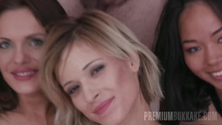 Premium Bukkake - Ria Sunn swallows 66 huge cum loads