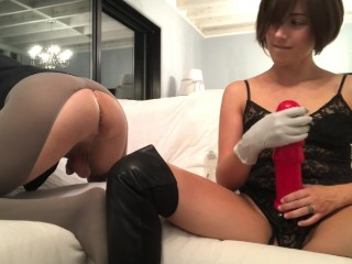 Young milf fucks her fan with monster dildo