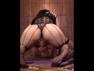 Sissy with a big ass, handjob his dick