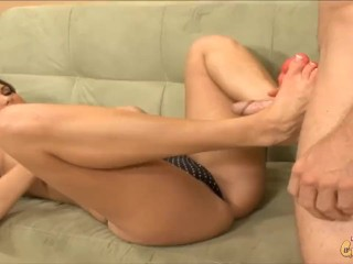 Tight little Teen Fucked hard and feet blasted with cum