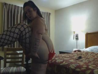 Bbw tries on stockings in seedy hotel panties...