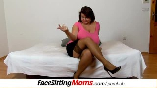 Eva a big lady with very big natural tits face-sitting a dude