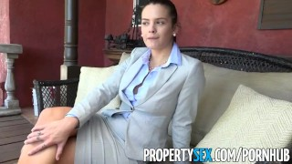 PropertySex - Rich dude fucks hot home insurance agent Internal jizz