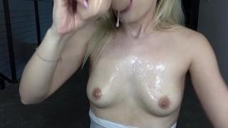 Spit dildo sloppy w blowjob boobs petite