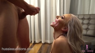 Screen Capture of Video Titled: Hussie Auditions: Blonde Teen Molly Mae's First Blowbang
