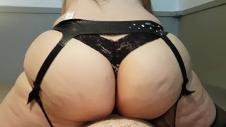 Preview 4 of THICK BOOTY AMATEUR BRUNETTE RIDES AND CUMS ON COCK TO EARN DEEP CREAMPIE