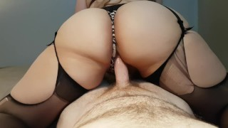 Preview 5 of THICK BOOTY AMATEUR BRUNETTE RIDES AND CUMS ON COCK TO EARN DEEP CREAMPIE