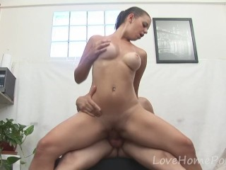Incredible brunette gets penetrated hard from behind