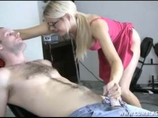Hot blonde babe gets blasted with cum