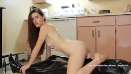 Riding a Mannequin's Big Dick in the Kitchen   freckledRED