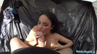 PublicAgent Anissa Kate is a Big Boobed Cheating Wife Fucked in Tent porno