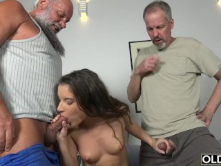Old Group fucked Teen Takes 2 grandpa cocks and cums hardcore