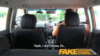 Preview 4 of Fake Driving School - Black haired Euro babe with Glasses Fucked in a Car