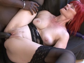 Redhead granny strips lingerie for big black cock