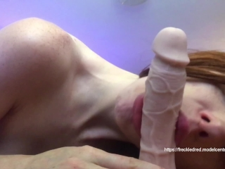 freckledRED Deepthroating And Fucking A Realistic Dildo. Live Cumshow On Myfreecams