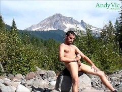 Sexy man outdoors on a public hike