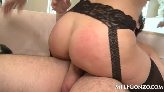 MILFGonzo Kendra Lust has her pussy impaled by young stud Threesome cosplay