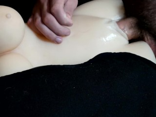 Fucking my Toy on the Back of the Futon and Pulling Out to Cum