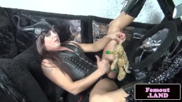Leather femboy mastering her cock