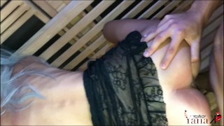 Escort Teen caught playing with her pussy in the Hotel's Sauna gets fucked