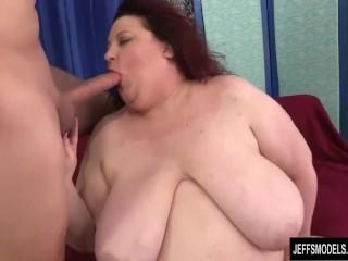 Big boobed fatty Stazi sucks and fucks