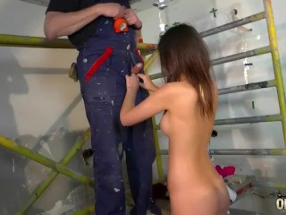 Old Worker Joe electrician fucks his Teen Intern on the work site hardcore