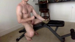 Guy strokes, fuck a rubber pussy and cums fast
