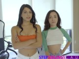Making My Teen Step Sisters Cum Together – Part 2
