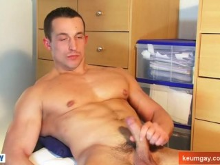 straight male Big cock gets wanked for porn in spite of him. Eric french !