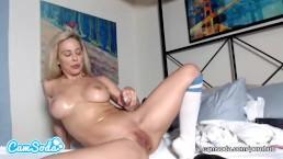 Cherie Deville MILF big tits masturbating with huge dildo.