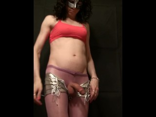Sissy in silver shorts and red top, handjob