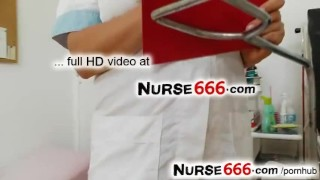 Naughty nurse shows off her big natural tits feat. Kathy Sweet