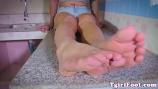 Oriental tranny enjoys kinky footfetish Malefootdomination.com licking
