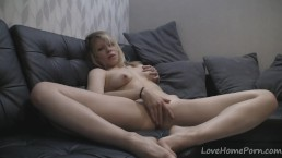 Cute blonde bends over and masturbates on camera