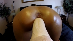 CLOSE UP- WIFE DOGGY STYLE FUCKING DILDO MACHINE & ANAL VIBRATOR- ORGASMS