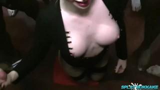 In facials a party sexy grace takes harper bukkake blonde facial cumshots