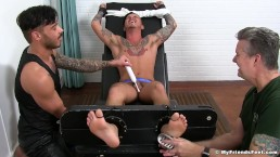Inked Set Knight has his feet locked before being tickled