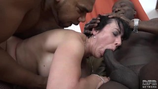Granny threesomes with 2 black men shoving cocks in her mouth and pussy