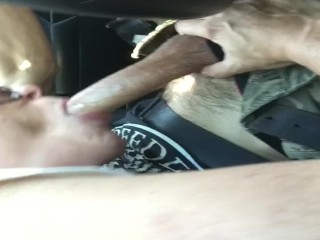 Deep throat blowjob on the road slut