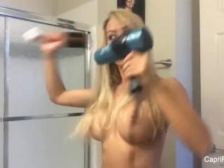 Topless babe Capri Cavanni dries her hair
