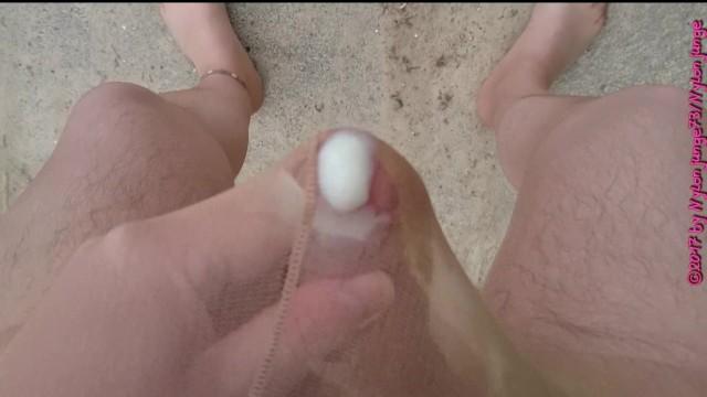 Strumpfhose Ferse Fetisch Sperma